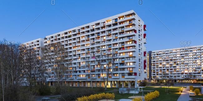 Germany- Stuttgart- Hallschlag- high-rise district at blue hour