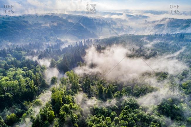 Germany- Baden-Wuerttemberg- Swabian Alb- Aerial view of Schurwald- morning fog