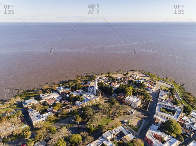 Aerial view over town looking out to River Plate in Colonia del Sacramento, Uruguay