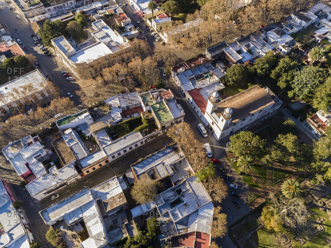 Aerial view of neighborhood and church in Colonia del Sacramento, Uruguay