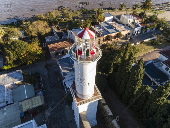 Colonia del Sacramento, Uruguay - June 15, 2018: Looking down at top of lighthouse from drone