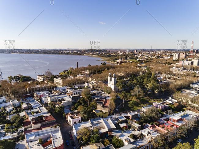 Aerial view over city and bay of Colonia del Sacramento, Uruguay