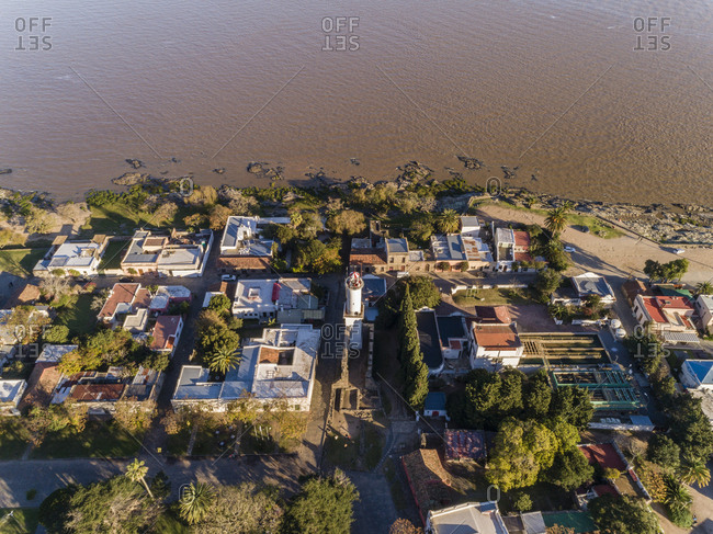 Aerial view of houses built along waterfront in Colonia del Sacramento, Uruguay