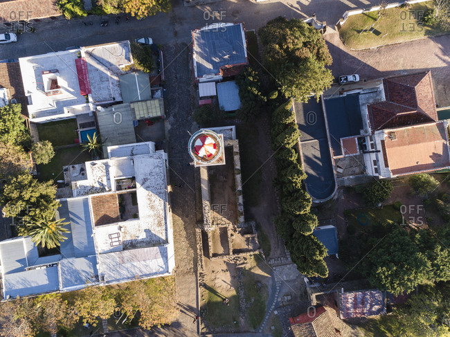 Looking down on lighthouse and surrounding houses in Colonia del Sacramento, Uruguay
