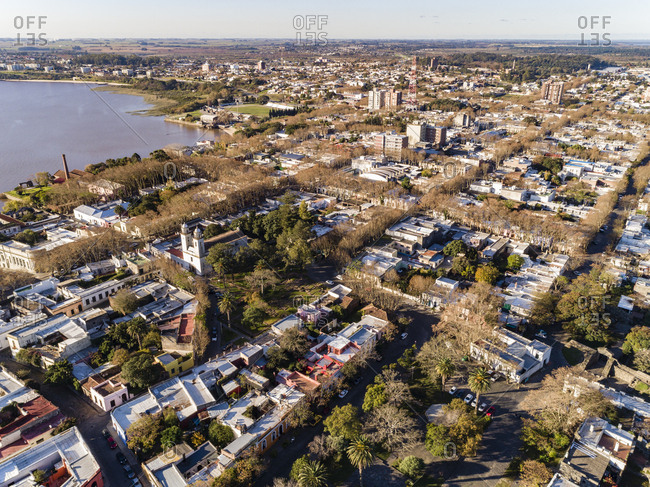 Aerial view of city on sunny Fall afternoon in Colonia del Sacramento, Uruguay