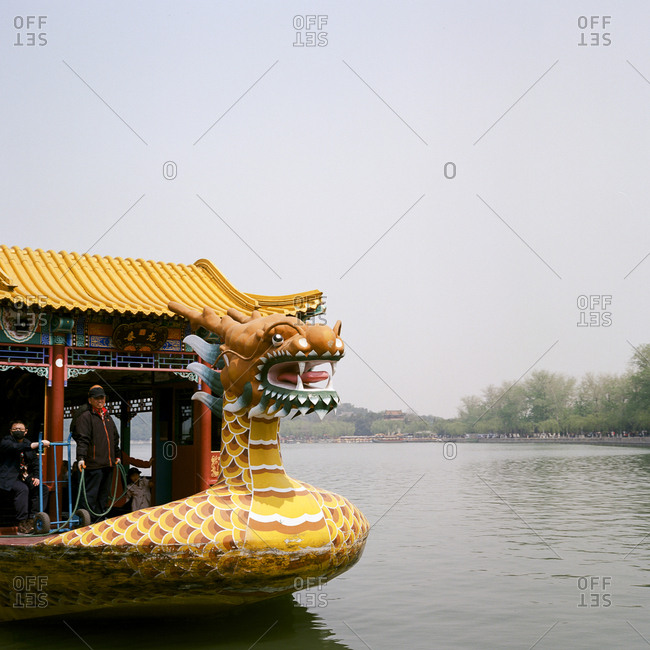 Beijing, China - April 17, 2018: Dragon boat ride across Kunming Lake at the Summer Palace