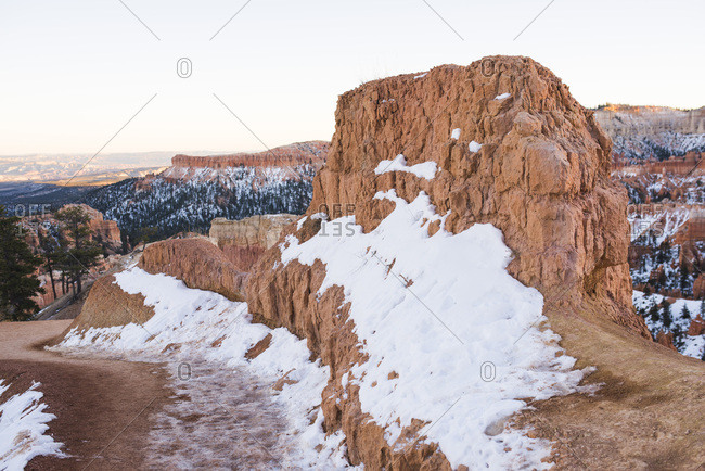 Snow covered red rock in Bryce Canyon National Park, Utah