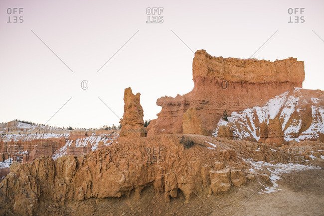 Snow dusted red rock in Bryce Canyon National Park, Utah at sunset