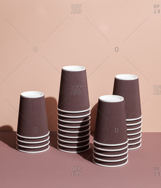 Vending machine cups on pastel background