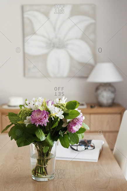 Ramatuelle, France - September 8, 2015: Interior of house with a vase filled with flowers