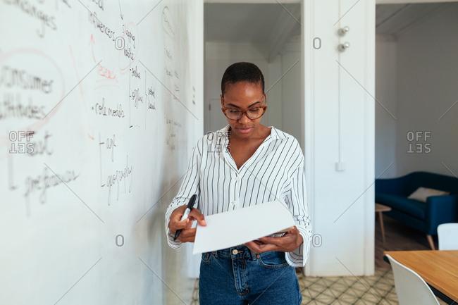 Woman working in a modern office