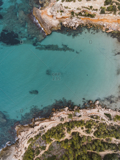 Aerial view of Cala Vidre coastline