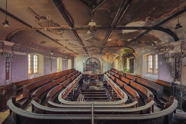 Wales - July 30, 2017: Abandoned Welsh chapel