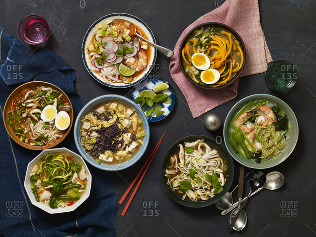 Variety of Asian style soups