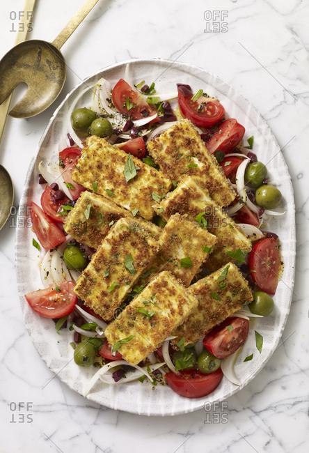 Crispy tofu tomato onion salad