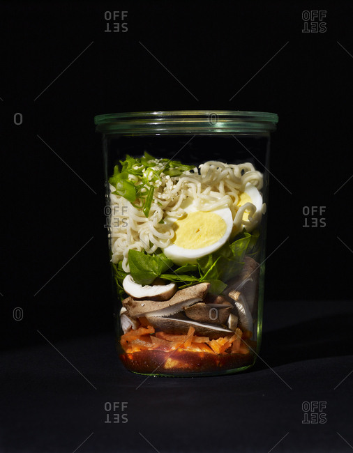 Ingredients for spicy ramen in a cup