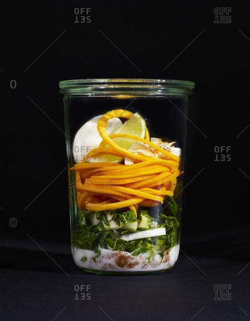 Ingredients for butternut squash noodles in a cup