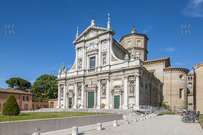 Italy, Emilia-Romagna, Ravenna . Basilica di Santa Maria in Porto, built during the 16th century, the sumptuous facade of the Basilica of Santa Maria in Porto was modified in the second half of the 18th century by the architect Camillo Morigia, overlapping the neoclassical style with the baroque visible today in the lower part