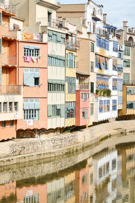 Girona, Spain - May 15, 2018: Housing complex exterior on sunny afternoon