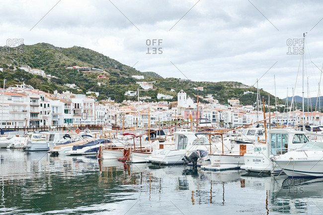Cadaques, Spain - May 14, 2018: Boats in harbor of coastal town