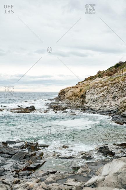 Shallow tide along rocky Spanish coastline