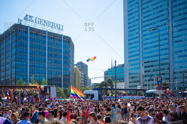 Milan, Italy - June 30, 2018: People at gay pride marching claiming for equality and legal rights for homosexual.