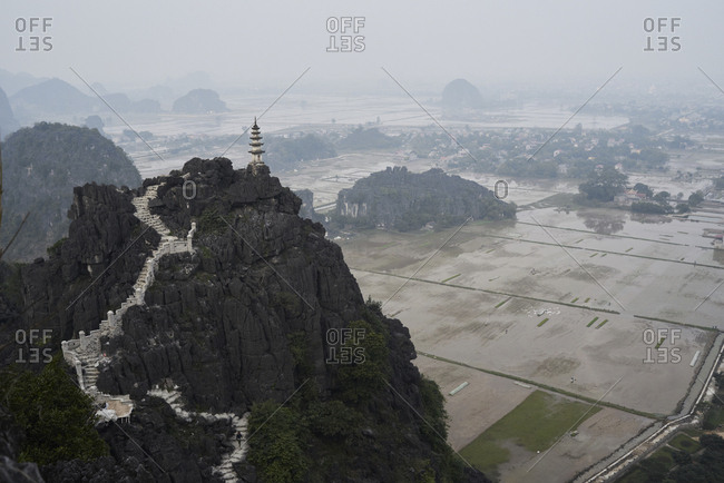 Top pagoda temple view from Hang Mua viewpoint at Tam Coc, Vietnam.
