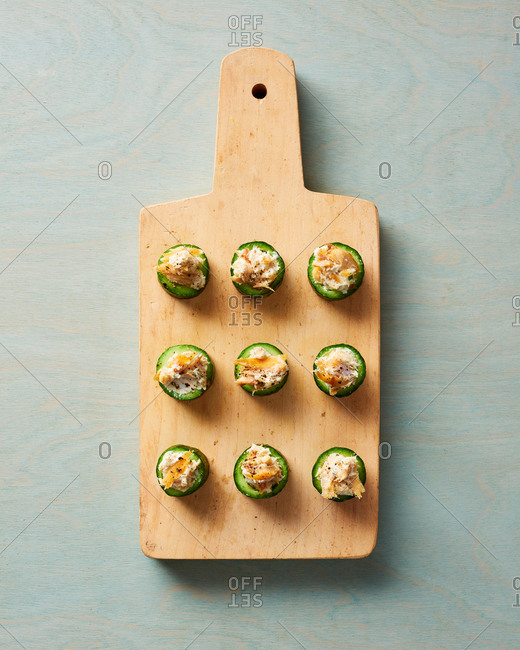 Cucumber Appetizers with Cheese and Smoked Trout