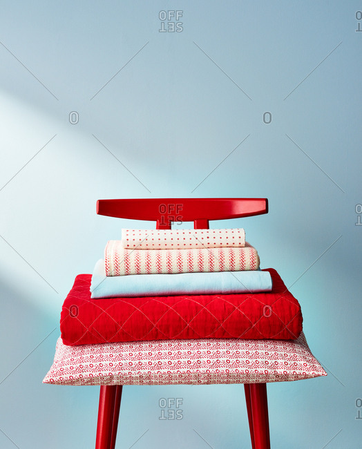 Red and Blue Linens in Stack