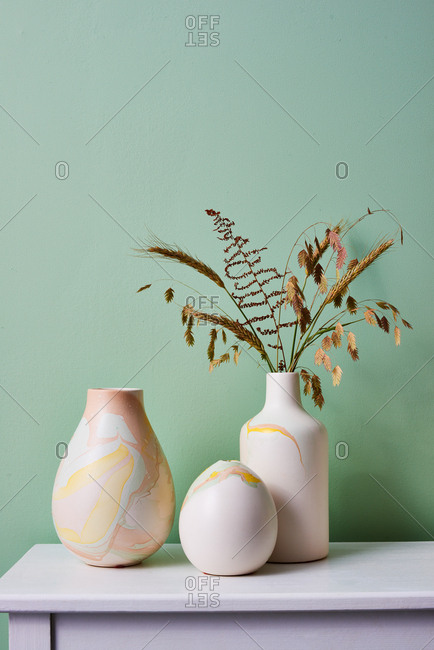 Marbleized Ceramic Vases