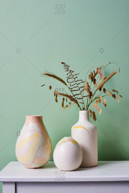 Marbleized Ceramic Vases