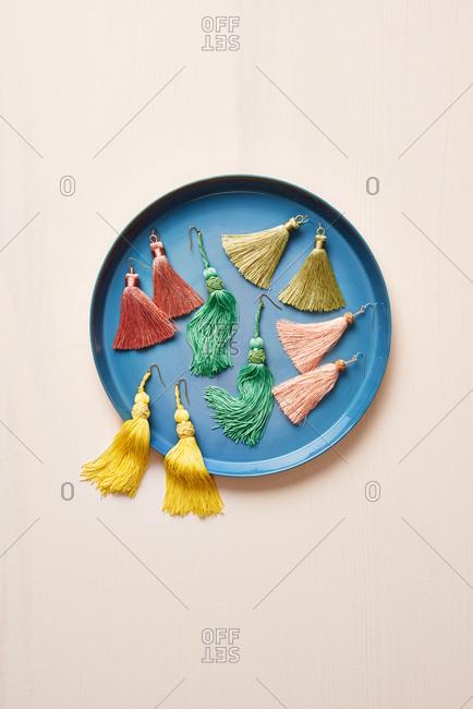 Colorful Earrings in Tray