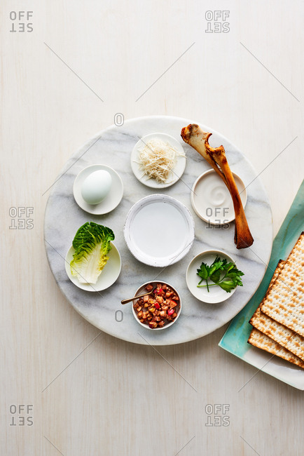 Passover Seder Plate on a lazy susan