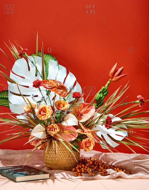 Tropical Floral Arrangement with Guest Book