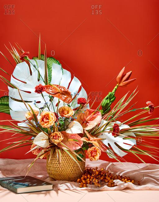 Tropical Floral Arrangement with Guest Book