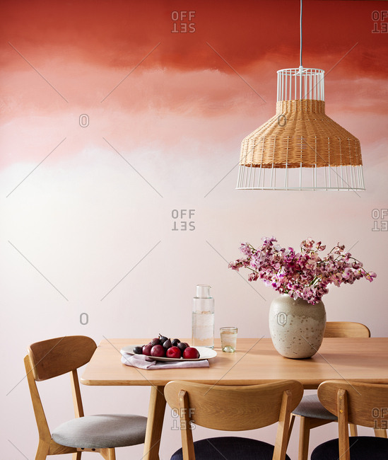 Dining table with Ombre Wall Color