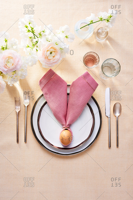 Easter Table Setting with Egg