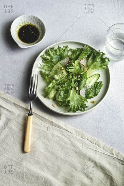 Overhead view of fresh green salad with radish and herbs on gray background