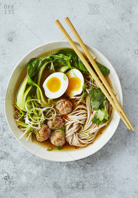 Asian Ramen noodles with egg and pak choi