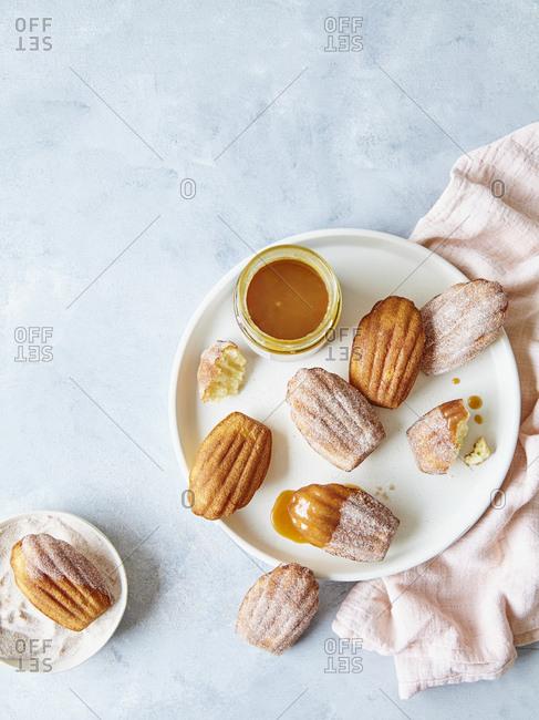 Cinnamon Sugar Madeleines with caramel dipping sauce