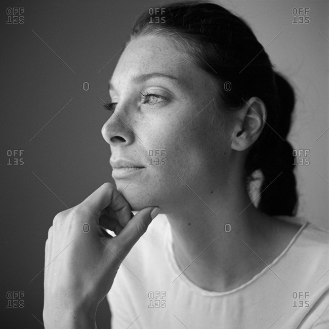 Black and White portrait of Caucasian woman