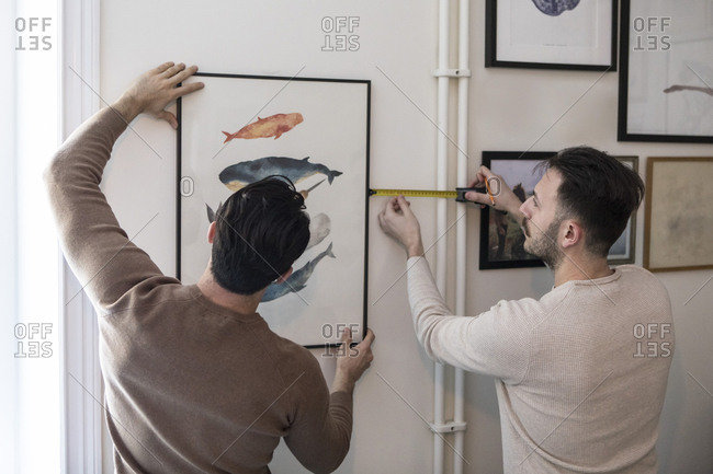 Rear view of gay couple hanging painting on wall at home