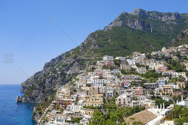 Scenic view of the coastal village of Postiano on a cliffside