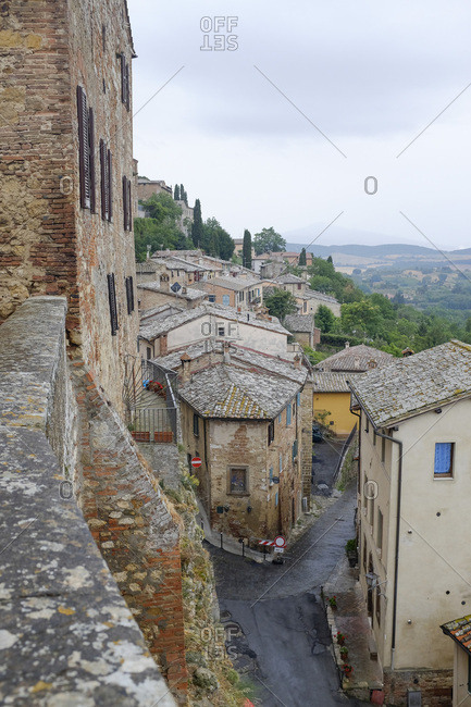 Historic cathedral in village in Tuscany