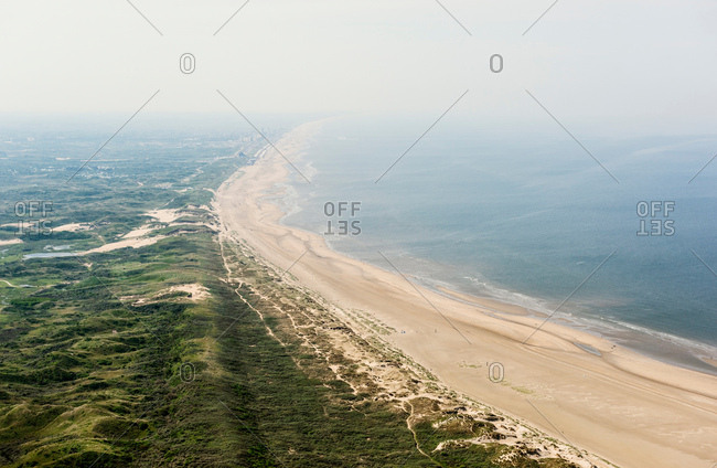 Dunes and north sea, IJmuiden, Noord-Holland, Netherlands