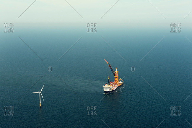 Construction work on windfarm, IJmuiden, Noord-Holland, Netherlands