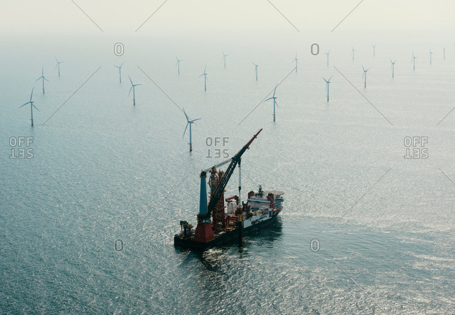 Construction work on Amalia windfarm, IJmuiden, Noord-Holland, Netherlands