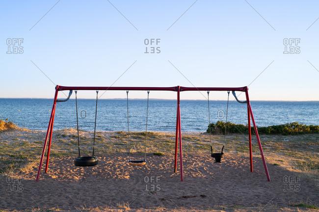 Beach playground at sunset
