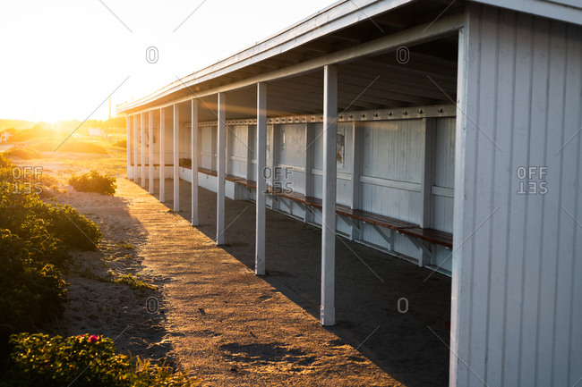 Empty dugout at sunset