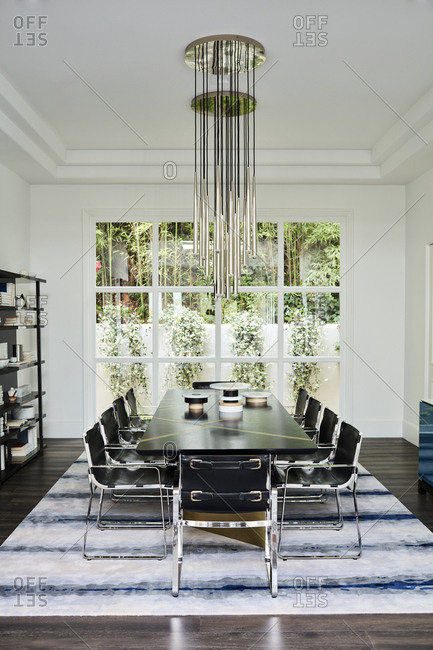 Beverly Hills, California - June 22, 2018: Dining room with garden view